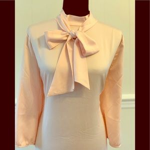 NWT- Pale Pink/ Blush Pussy Bow Tie Blouse.